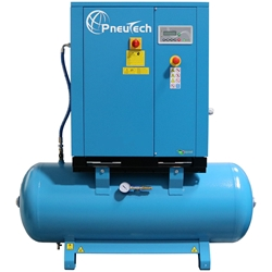 PneuTech 5 HP Rotary Screw Air Compressor, 20 CFM @ 125 PSI, Tank Mounted